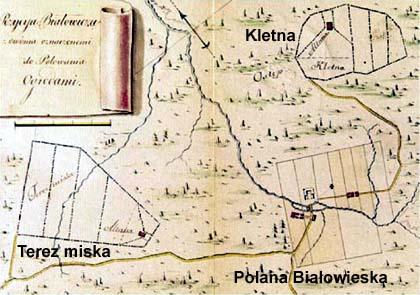 Stanisław August Poniatowski, M. Połchowski, mapa, 1784, zwierzyniec Wielka Kletnia, Puszcza Białowieska, Białowieski Park Narodowy, Białowieża